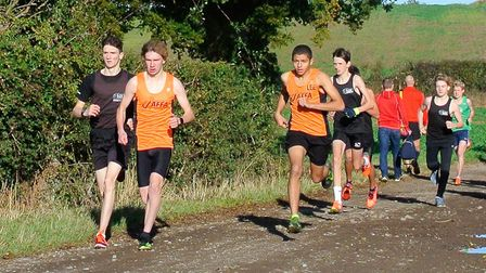 The leaders out on the course during the 53-12 league cross-country at Harwich