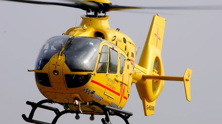 An air ambulance was called to the scene. Picture: SIMON PARKER