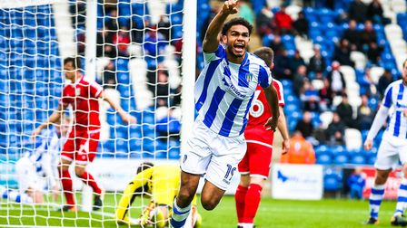 Mikael Mandron celebrates his goal to level the score at 1-1 against Crewe. Picture: STEVE WALLER