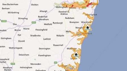 Map showing areas where flood warnings (red) and alerts (orange) are in place. Picture: ENVIRONMENT