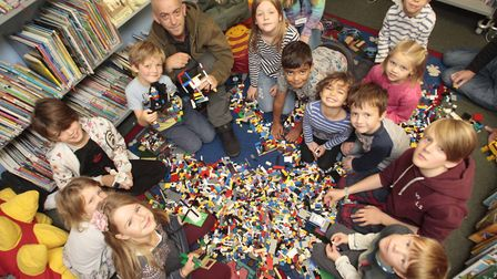 Framlingham Library Lego Club on Saturday. Picture: NIGE BROWN