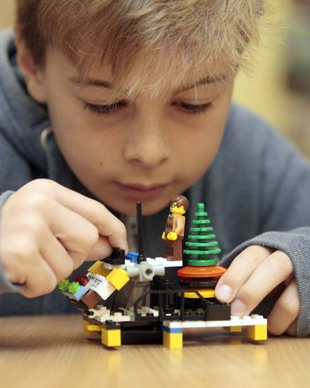 Chris Judd at Framlingham Library Lego Club on Saturday. Picture: NIGE BROWN