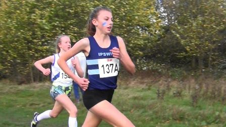 Holly Fisher, who was the leading runner at the end of the first leg at the South of England Cross C