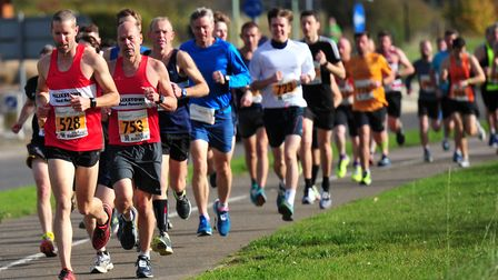 The Felixstowe Road Runners duo of Garry Cullum (No. 528) and Steve Brooke (753) lead the way in the