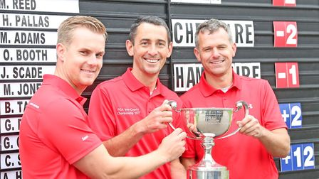 ESSEX TRIUMPH: From left: James Scade. Jason Levermore (with trophy) and Brett Taylor. Photograph: C