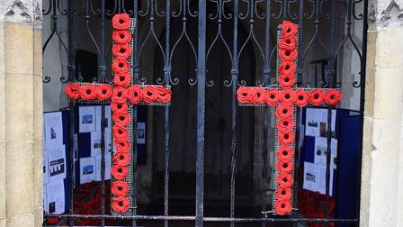 Poppy crosses at the church entrance. Picture: GREGG BROWN