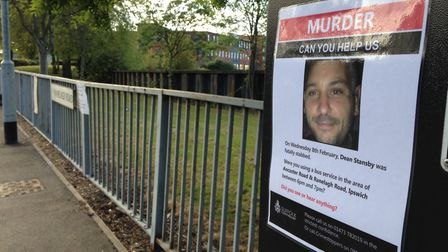 Posters were put up around Ipswich asking for the public's help in the Dean Stansby murder investiga