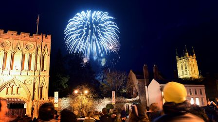 The annual Bury St Edmunds Round Table fireworks display in the Abbey Gardens on Saturday night. Th