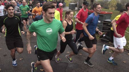 Runners at the Colchester Castle Parkrun on Saturday. Picture: NIGE BROWN.