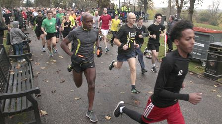Runners at the head of the field at the start of the Colchester Castle Parkrun, near the bandstand.