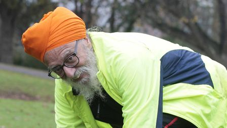 Malkiat Singh limbers up on Saturday. Picture: NIGE BROWN.