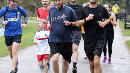 Young and old taking part in the 241st Colchester Castle Parkrun.Picture:NIGE BROWN.