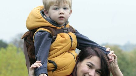 Louisa Braddock with son, Harvey. at the Colchester Castle Parkrun event. Picture: NIGE BROWN.