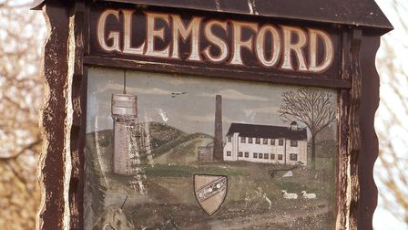 GLEMSFORD VILLAGE SIGN FOR SUFFOLK MAG. PHOTO: COLIN SHAW