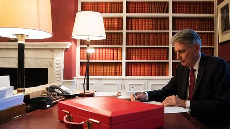 Chancellor of the Exchequer Philip Hammond, prepares his speech in his office in Downing Street, Lon