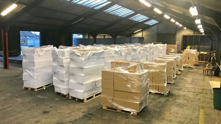 Huge haul of 8.5 million cigarettes found at Harwich port. Picture: BORDER FORCE