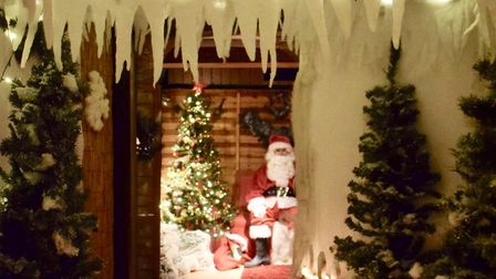 Santa's grotto at the Rainforest Cafe