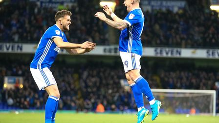 Martyn Waghorn celebrates with Emyr Huws after Ipswich Town took the lead against Sheffield Wednesda