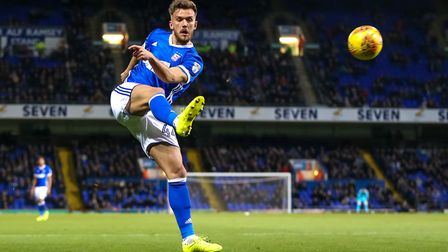 Emyr Huws crosses into the box for Martyn Waghorn (not pictured) to head home for Town's second goal
