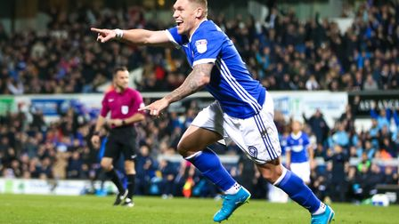 Martyn Waghorn celebrates after putting Town into a 2-1 lead against Sheffield Wednesday. Photo: Pag