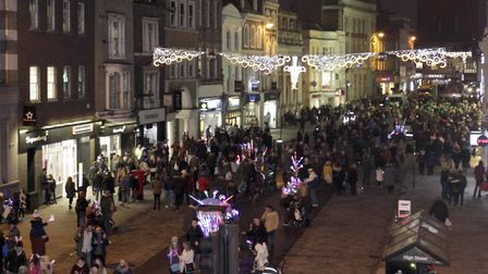 Last year's Colchester Christmas lights turn on event. Picture: NIGEL BROWN