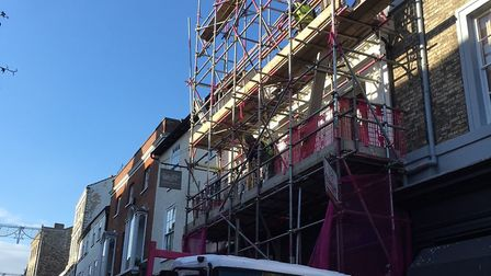 The scaffold on front of Chapter House, in Abbeygate Street, being removed
