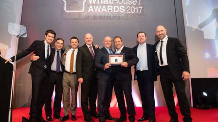 Hopkins Homes wins Best Medium Housebuilder at the 2017 WhatHouse? Awards Left to right: Jack White