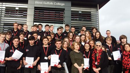 Students from West Suffolk College were presented with thank you certificates after selling poppies.