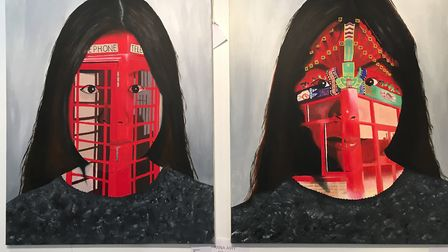 Self Portrait 1&2, by Ami Zhang, Kesgrave High School, runner up of the Anna Airy Awardfor A level a