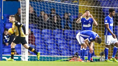 Town players after conceding an injury time goal in the Ipswich Town v Sheffield Wednesday match.