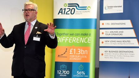 Cllr Kevin Bentley speaking at an A120 campaign event held at Stansted Airport. Picture: PAGEPIX LTD