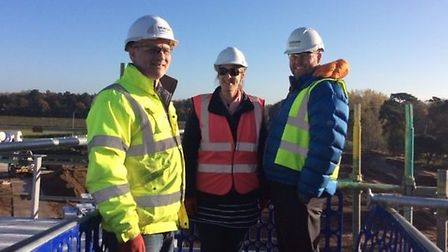 Steven Palmer, site manager at Morgan Sindall, Nichola Connor and Stuart Tinsley, Chilford Hundred E