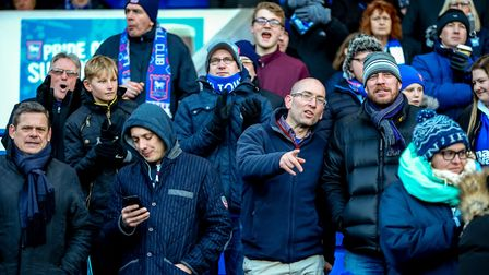 Fans at the Ipswich Town v Reading match. Picture: STEVE WALLER WWW.STEPHENWALLER.COM