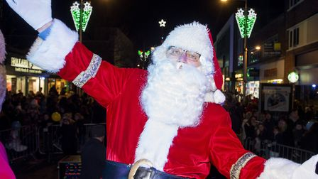 Father Christmas at the Lowestoft Christmas lights switch on event, this year. Picture: NICK BUTCHER