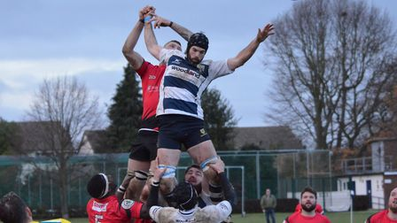 Chelmsford, in hoops, contest a line-out against Rochford. Picture: CONTRIBUTED