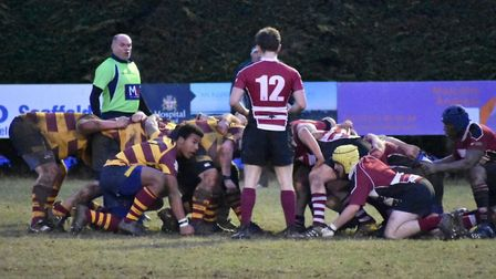 Ipswich YM, left, and Hadleigh scrum down. Picture: DEBBIE TAYLOR