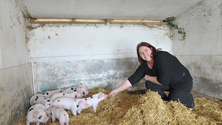 Teresa Cook pictured with some Gloucestershire Old Spot piglets. Picture: SARAH LUCY BROWN