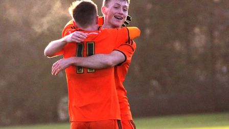 Conor McKendry celebrates with Ben Morris. Picture: ROSS HALLS