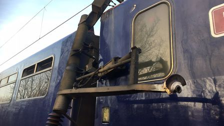 Part of a pantograph broke off and hit a train this morning. Picture: GREATER ANGLIA