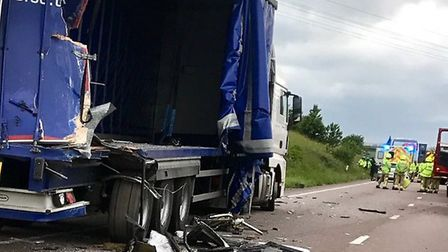 The scene of the crash on the A120 near Dunmow in Essex. Picture: EAST OF ENGLAND AMBULANCE