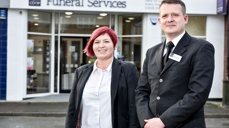 Funeral arranger Sara Vail and funeral manager David Downes outside the new East of England Co-op Fu