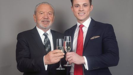 Lord Sugar with James White, one of the joint winners of BBC One's The Apprentice 2017. Picture: YUI