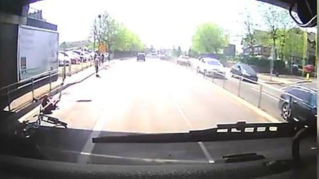 A still image from footage of a crash in Colchester that was captured on a dash cam. Picture: RELEAS