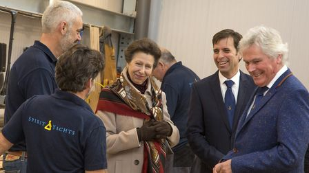 The Princess Royal meets members of the Spirit Yachts team including chief executive Sean McMillan a
