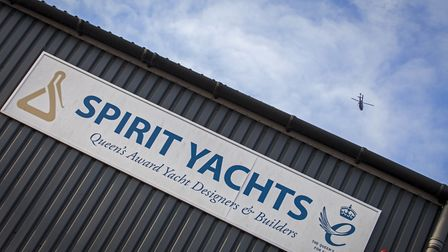 The Princess Royals helicopter arrives in Ipswich ahead of a visit to Spirit Yachts. Picture: MIKE