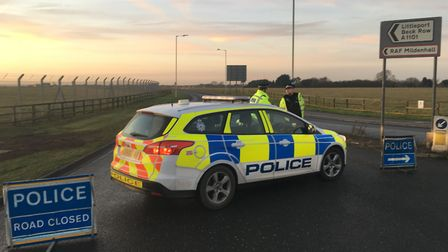 Police near the scene of an incident at RAF Mildenhall. Picture: MICHAEL STEWARD