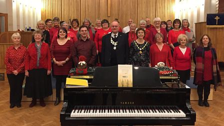 The Mayor of Stowmarket Dave Muller and his wife Lous with members of VivaVoices, at Stowmarket.