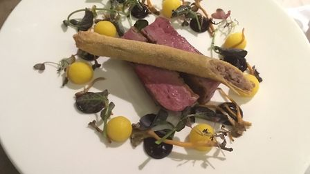 Pan fried duck with a duck straw, The Swan, Long Melford.