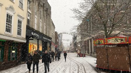 There were still some people who ventured into Ipswich town centre - with the Christmas Market being