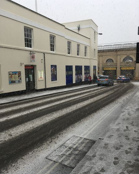 Cars negotiating Woolhall Street, in Bury St Edmunds. Picture: Russell Cook